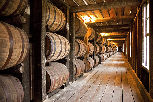 Bourbon ages in new, charred, white oak barrels in a Heaven Hill rickhouse in Bardstown, Kentucky.