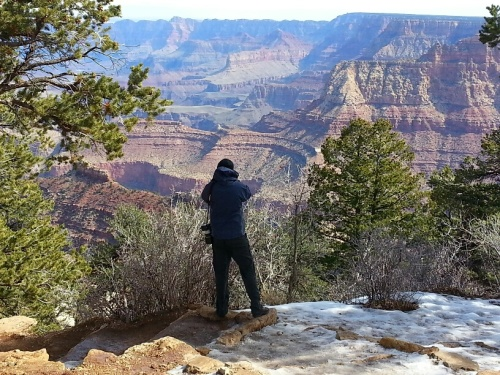 David photographs the South Rim on a wintry March day. Photo credit: Rose Muenker